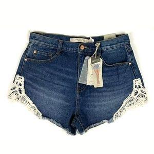 New Zara High Waist Denim Shorts Crochet Trim